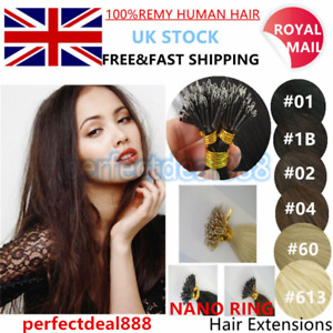 """16""""-20"""" 7A Nano Ring Tip Micro Bead Indian Halo Remy Human Hair Extensions UK"""