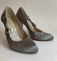 "Hobbs Silver Satin Almond Toe Court Shoe Slim 4.25"" Heel UK 4.5 EU 37.5 Weddings"