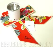 Dior Red Year of Rooster Mitzah SKINNY 2-sided Silk Scarf AUTHEN