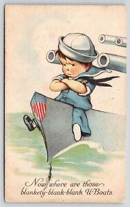 Charles Twelvetrees WWI Patriotic~Boy Sailor On Lookout for U-Boats~Big Guns