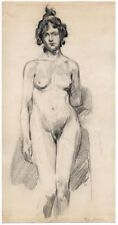 Dessin modèle nu de face - Paul Jouve (attr.) - circa 1900