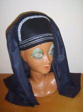 BLACK SILVER Lady Tudor Medievale Cappello Con Velo Anna Bolena Costume