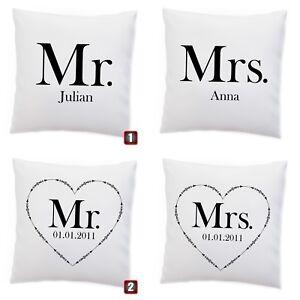 Doppel Kissen Mr and Mrs Namen oder Datum Name Pärchen Hochzeit Jahrestag Miss