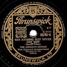 1946 ANDREWS SISTERS 78 HER BATHING SUIT NEVER GOT WET / AVOCADO BRUNS. 03742 V+