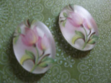 Vintage Cameos - Pink Tulip Flowers Oval 18X13mm Cabochons Made in Germany Qty 2