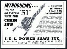 1951 IEL Power Chain Saw Super Twin chainsaw photo vintage trade print ad