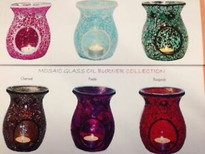 Coloured Glass Mosaic Oil Burner - Choice of 6 COLOURS