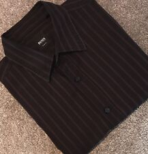 Hugo Boss 'Ronny' Shirt Slim Fit Size L Black/Aubergine Striped Great Condition