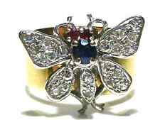ART DECO DESIGNER KJ 14K YELLOW & WHITE GOLD DIAMOND SAPPHIRE INSECT RING SZ 7.5
