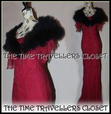 BNWT Vintage Cape Shawl Collar Black Satin & Marabou Feather 8 10 12 14 One Size