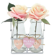 His & Hers Glass Bottle Set Metal Crate Wedding Flower Vase Table Centrepiece