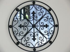 HAMPTONS or FRENCH round MIRROR antique brown 60 cm  INDOOR OUTDOOR  NEW