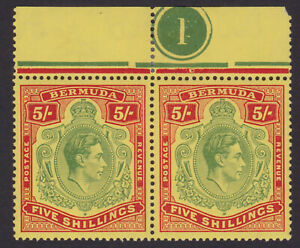 Bermuda. 1939. SG 118a, 5/- pale green & red/yellow. Unmounted pair.