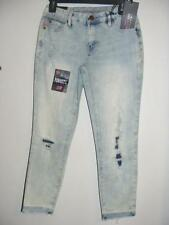 new RAMPAGE Sophie skinny capri destroyed sexy blue crop jeans 5 awesome tears