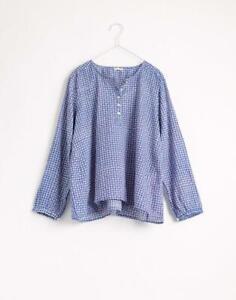 Matta NY Jawa Mira block print cotton voile top blouse indigo blue S dosa injiri
