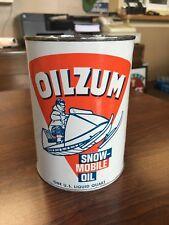 Vintage NOS Nice Oilzum Snowmobile Quart Full Oil Can
