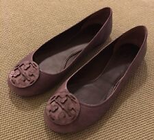 Tory Burch RARE Taupe-Gray Embossed Reva Flats Sz 9 Retail $250 SOLD OUT
