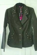 Khaki casual blazer jacket studded cotton 10 bnwt asos