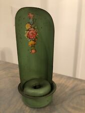 Antique Vintage Green Roses Flowers Tole Ware Decal Chamber Stick Candle Sconce