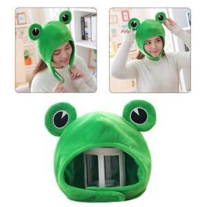 Funny Big Frog Eyes Cartoon Plush Hat Toy Green Headgear Cap Cosplay Costume