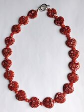 Stunning Ruby Red Millefiori Glass Heart Necklace 1