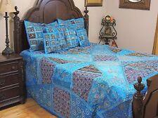 Blue Kundan Indian Inspired Beaded Bedding Sari Luxury Duvet Pillow Shams King