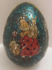 "Wonderful Antique Tin Toy Easter Egg w Girl Holding Rabbit 2 3/4"" Germany 1900s"