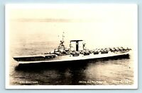PRE WWII NAVY CARRIER SHIP - USS SARATOGA - OFFICIAL PHOTO BY ELLIS - RPPC - T1