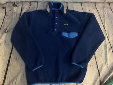 Patagonia Synchilla Snap T-Fleece Pullover Youth Sz L 12 Color Block Blue Navy
