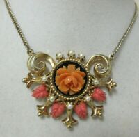 Vintage Gold Tone Carved Coral Celluloid Flower & Faux Pearl Necklace
