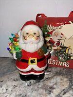1 Mr Christmas Ceramic Santa Claus  Lighted Ornament Figurine W/ Gift Bag