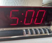 Retro Red LED Digit Display Alarm Clock Vintage Spartus 1150