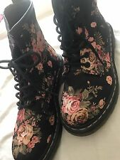 DR. MARTENS BLACK PINK GOTHIC FLORAL VICTORIAN FLOWERS LADIES BOOTS LACE GIRLS