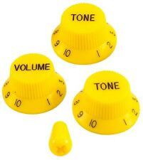 GUITAR VOLUME & TONE KNOB SET W/SWITCH TIP FOR FENDER STRAT (YELLOW) *NEW*
