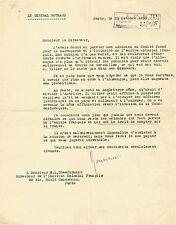 Général GOURAUD Lettre signée. Les Colonies Françaises et les annexions d'HITLER