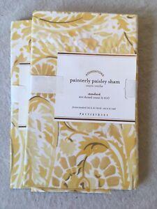 Set/2 Pottery Barn Painterly Paisley Standard Shams Beautiful Collection!!