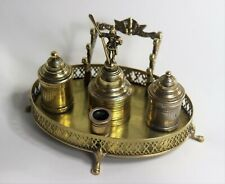 18TH CENTURY CONTINENTAL SOLID BRASS STANDISH INKSTAND ANTIQUE