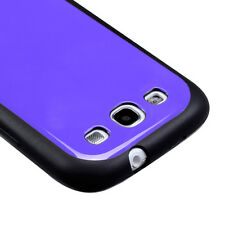 For Samsung Galaxy S III 3 TPU Gel GUMMY Hard Skin Case Phone Cover Black Purple