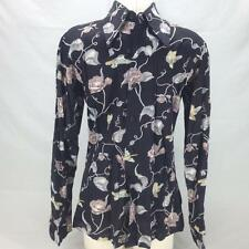 Vintage Kennington Ltd California Men's Black Flower Bird 70s Disco Shirt Sz L
