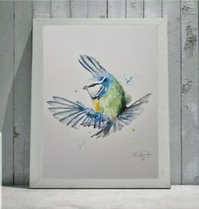 New Elle Smith large original signed watercolour art painting of Blue Tit Bird