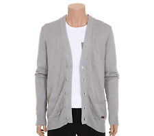 FRJ Mens Casual Big Button Detailed V-Neck Cardigan Sweater Gray Size M NWT