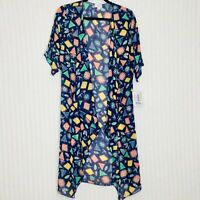 NWT LuLaRoe Shirley Kimono Duster Size Small Long Print Blue Geometric Print $48