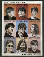 TANZANIA JOHN LENNON  PROGRESSIVE COLOR PROOF SET OF SHEETS MINT NH