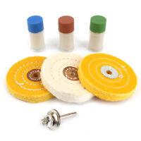 7Pcs Metal Polish Buffer Set Buffing Polishing Cotton Wheel Kit Rouge Compound