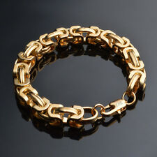 Solid 18K Gold Plated Bracelet Charm Men's 9mm Chain Fashion Jewelry Party Gift