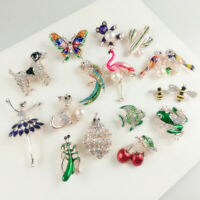 Fashion New Women Pin Rhinestone Pearls Flower Brooches Pins Accessories Gifts
