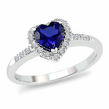 1.20 Ct Blue Sapphire and Natural Diamond 9K White Gold Heart Promise Ring