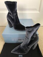 NIB Prada Dark Gray Velvet Pointed Toe Curved Chunky Heel Ankle Boots 38 8 $875