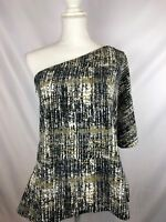 Halston Womens Size M One Shoulder Black Gold Abstract Print Blouse Top NWT