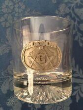 """Masonic Whiskey Glass Freemason Square and Compass """"Mason"""""""
